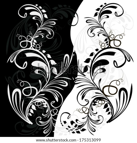 black and white abstraction. Vector - stock vector