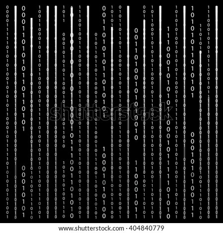 Black and White. Algorithm Binary Code with digits on background, encoding, decryptiondata code, matrix. Vector Illustration. EPS10 - stock vector