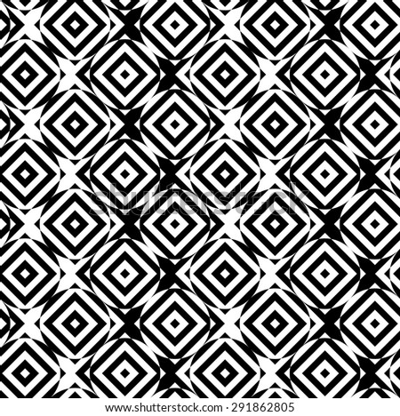 Black and white alternating circles cut through squares diagonal.Seamless stylish geometric background. Modern abstract pattern. Flat monochrome design.