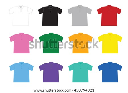 Black and white and color men t-shirts. Design template. Polo shirt.
