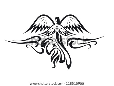 Black and white angel silhouette. Isolated vector - stock vector