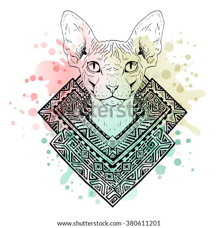 Black and white animal Cat head, watercolor abstract art, tattoo, doodle sketch. Sphynx cat. Outlines of pet. Design for t-shirt, bag, jacket, package, phone case and so on. Vector illustration. - stock vector