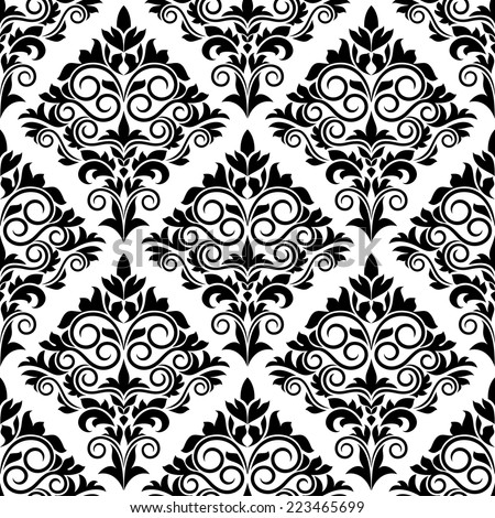 Black and white arabesque design with scrolls and leaves in a bold motif arranged in a seamless background pattern in square format - stock vector
