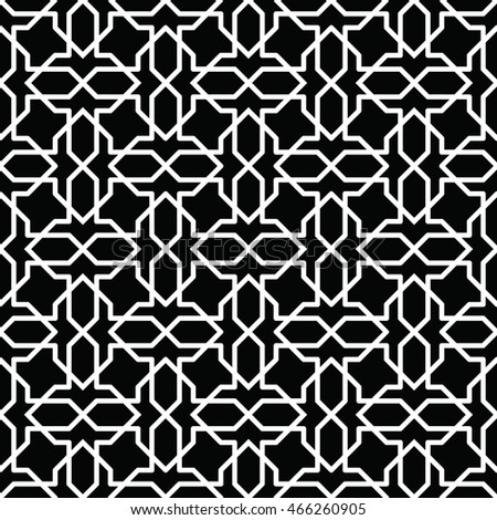 Black and white arabic seamless pattern. Moroccan background. Geometric muslim ornament backdrop. Vector 10 EPS illustration.