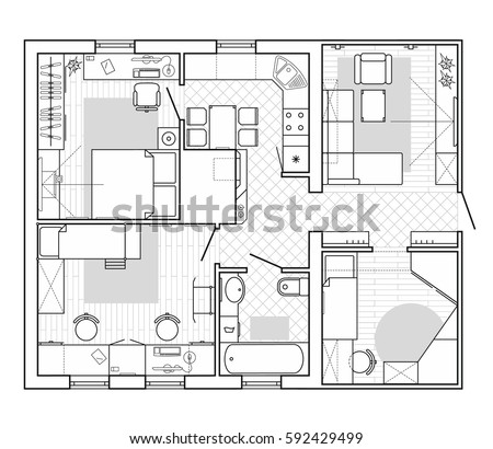 Floor plan furniture top view architectural vectores en stock black and white architectural plan of a house layout in top view of the apartment malvernweather Choice Image