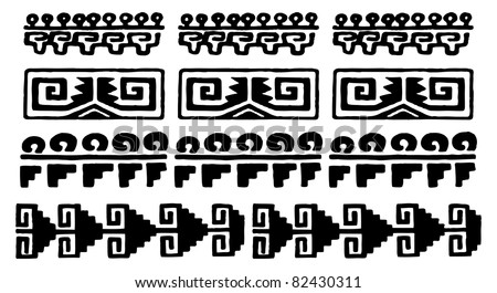 black and white aztec glyphs from mexico - stock vector