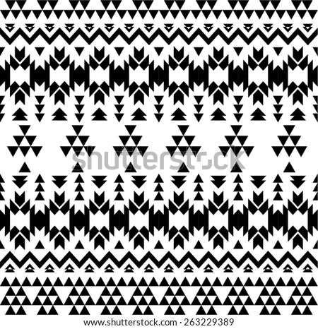 Black and white aztec seamless background - stock vector