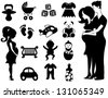 Black and White Baby and Pregnancy Icons Sets - stock vector