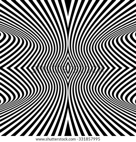 Black and White Background. Pattern With Optical Illusion. Vector Illustration.