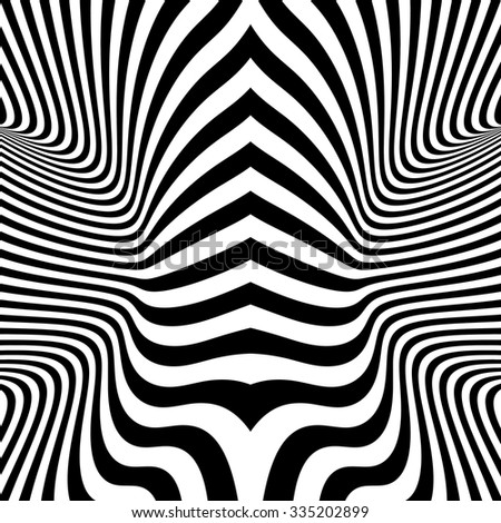 Black and White Background. Pattern With Optical Illusion. Vector Illustration. - stock vector
