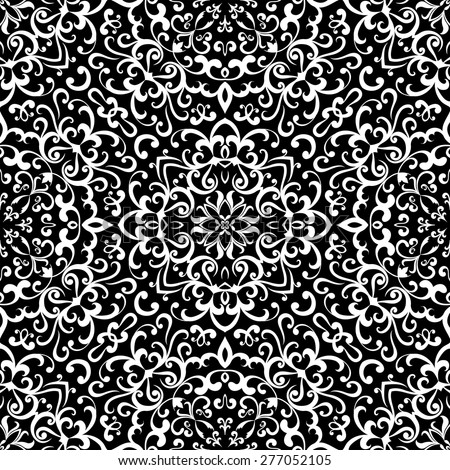 Black and white background, vector curly ornament, seamless pattern - stock vector