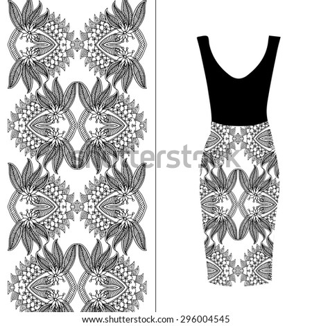 Black and white background. Vector fashion illustration, women's dress  - stock vector