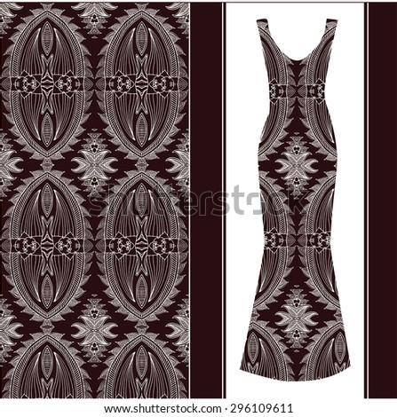 Black and white background. Vector fashion illustration, women's dress
