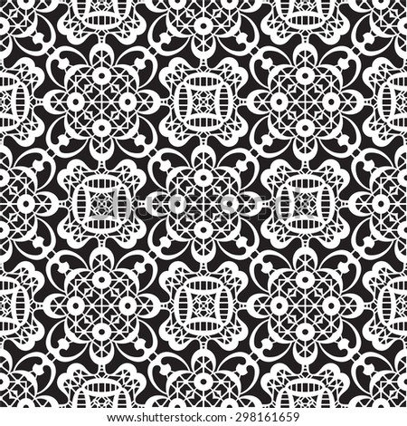 Black and white background, vector lace texture, seamless pattern  - stock vector