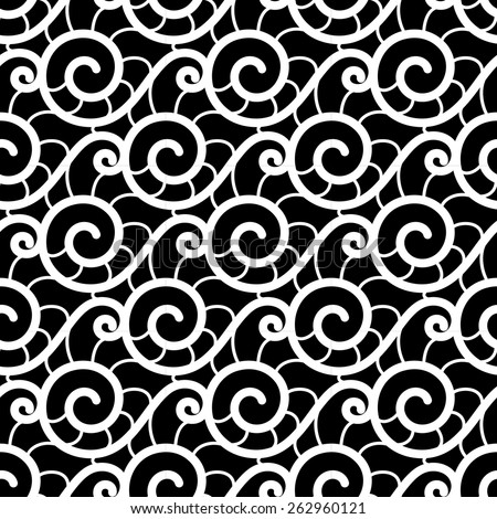 Black and white background, vector lace texture, wavy seamless pattern  - stock vector