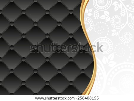 black and white background with decorative pattern and floral ornaments - stock vector