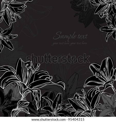 black and white background with lilies - stock vector