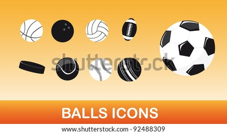 black and white balls icons over orange background. vector - stock vector