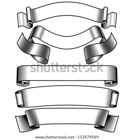 black and white banners set - stock vector
