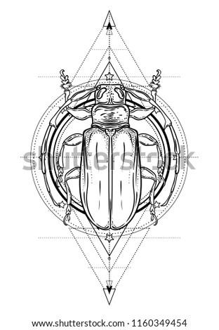 Black White Beetle Over Sacred Geometry Stock Vector 1160349454 ...