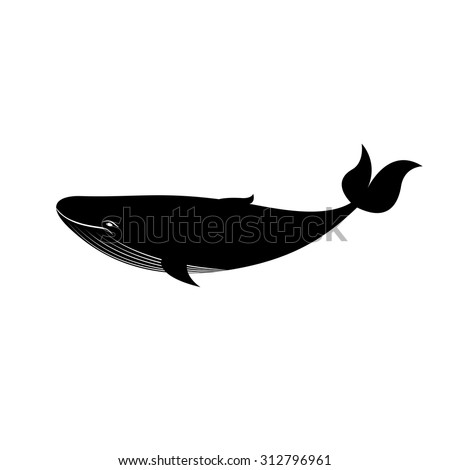 Black and white big whale print, vector illustration isolated on background - stock vector