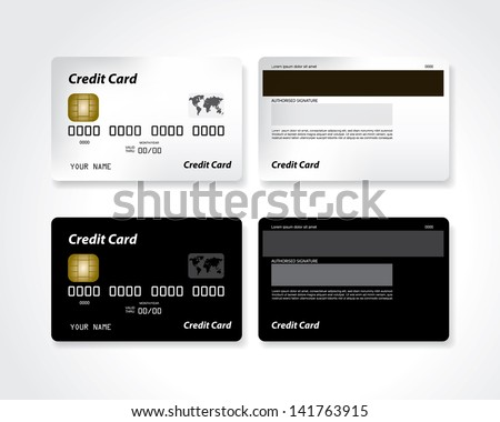 Black and white blank credit card - stock vector
