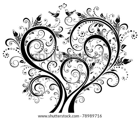 Black-and-white blooming tree, floral background, floral ornament. Vector illustration. - stock vector