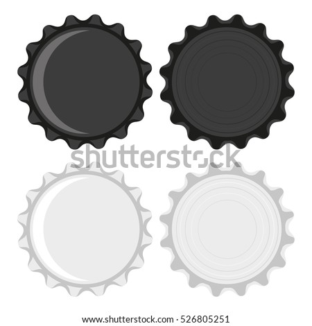 Black and white bottle caps  isolated on white background