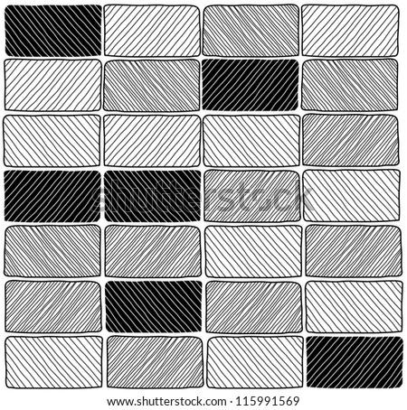 Black and White Brick Wall - Hand Drawn Vector Illustration - stock vector