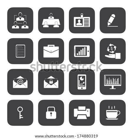 Black and White Business and office icons set.Vector eps 10 - stock vector