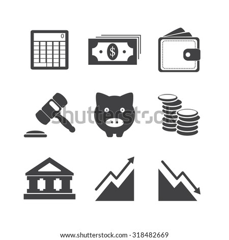 Black and White Business finance and money icon set illustration eps10 - stock vector