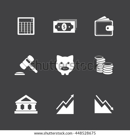 Black and White Business finance and money icon set illustration eps10
