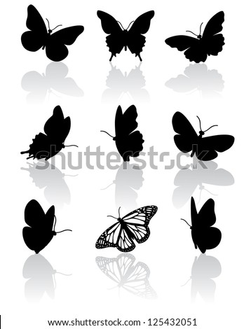 Black and white butterfly icons EPS 8 vector, grouped for easy editing. No open shapes or paths. - stock vector