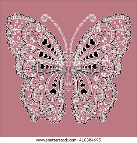 Black and white butterfly. Lace vintage butterfly in black and white isolated on dark pink background. Decorative element for: greeting card, pattern, gift surface, web, wallpaper, logo, brand icon   - stock vector