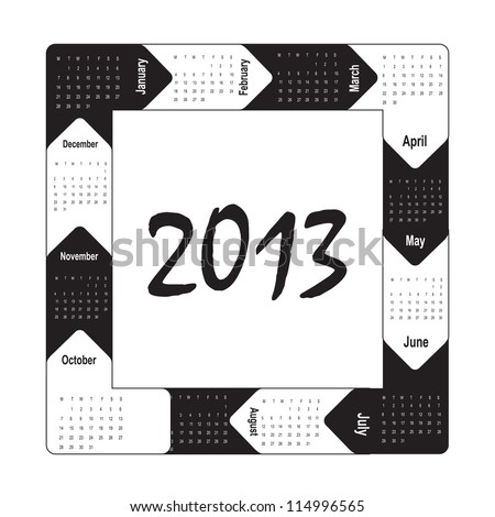 black and white 2013 calendar over white background - stock vector