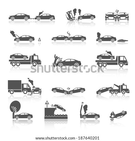 Black and white car crash and accidents icons with pedestrian warning sign and tow truck vector illustration - stock vector