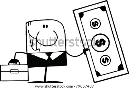Black And White Cartoon Doodle Businessman Holding Dollar