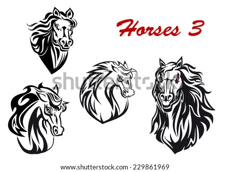 Black and white cartoon horse characters head icons with flowing manes, two facing the viewer and two turning to the side, for tattoo, mascot or equestrian sports design. Vector illustration - stock vector