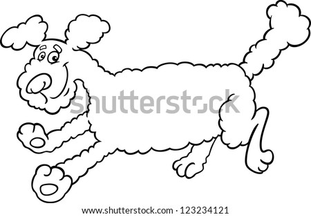 Black And White Cartoon Illustration Of Cute Running Poodle Dog For Coloring Book Or Page