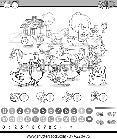 Black and White Cartoon Illustration of Education Mathematical Game for Preschool Children with Farm Animals