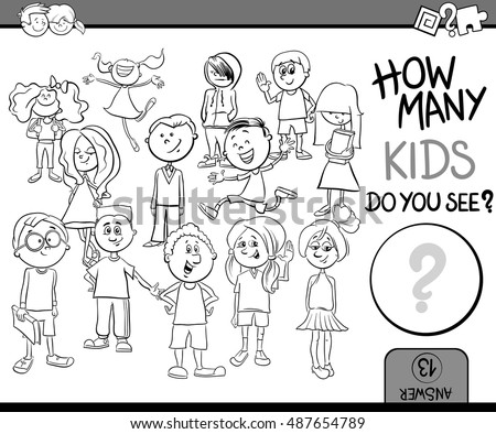 Black and White Cartoon Illustration of Educational Counting or Calculating Task for Children with Kid Characters Crowd Coloring Book