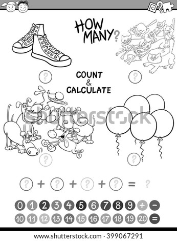 Black and White Cartoon Illustration of Educational Mathematical Count and Addition Activity for Preschool Children Coloring Book - stock vector