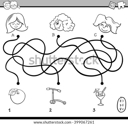Black and White Cartoon Illustration of Educational Paths or Maze Puzzle Activity for Preschool Children with Girls Coloring Book - stock vector