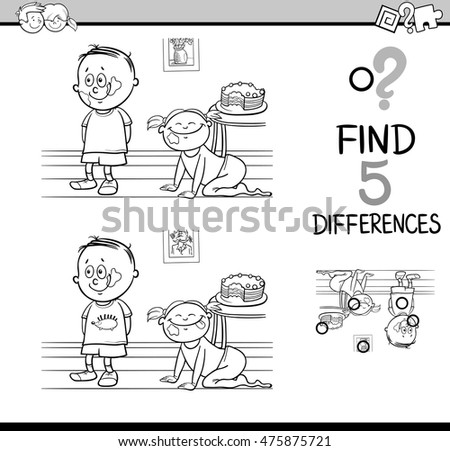 Black and White Cartoon Illustration of Finding Differences Educational Activity Task for Kids with Child Characters for Coloring Book