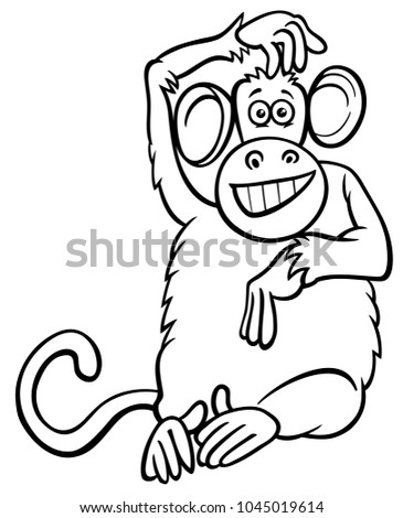 Black And White Cartoon Illustration Of Funny Monkey Primate Animal Character Coloring Book