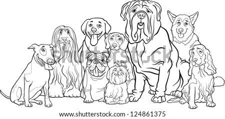 black and white cartoon illustration of funny purebred dogs or puppies group for coloring book