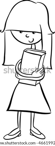 Black and White Cartoon Illustration of Happy Preschool or School Age Girl for Coloring Book