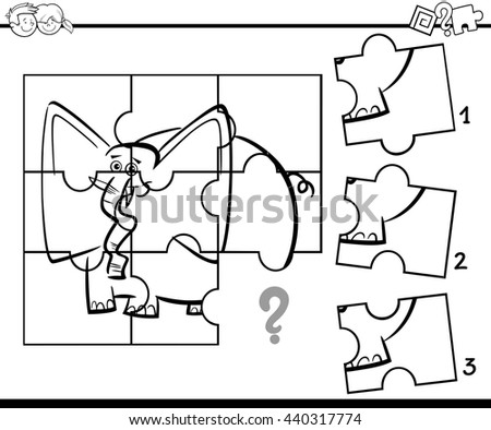 Black And White Cartoon Illustration Of Jigsaw Puzzle Educational Activity Task For Preschool Children Coloring