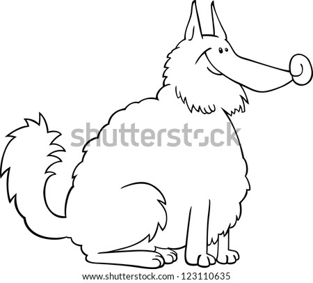 black and white cartoon illustration of shaggy purebred eskimo dog or spitz or sheepdog for coloring