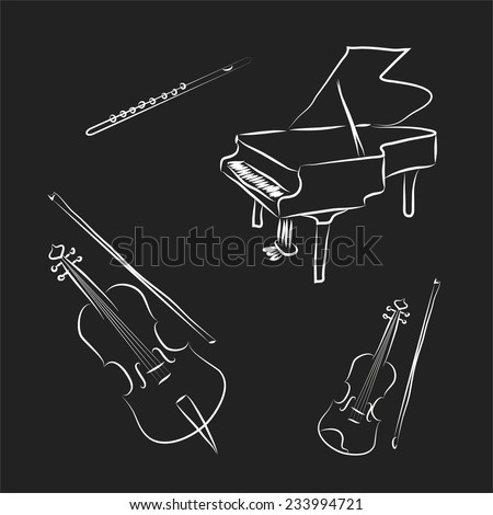 Black and white cartoon music instruments. Violin, cello , piano , flute. Vector sketch coloring